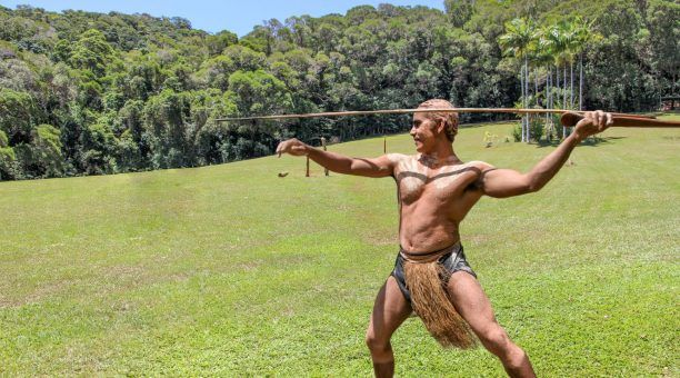 Spear throwing exhibition
